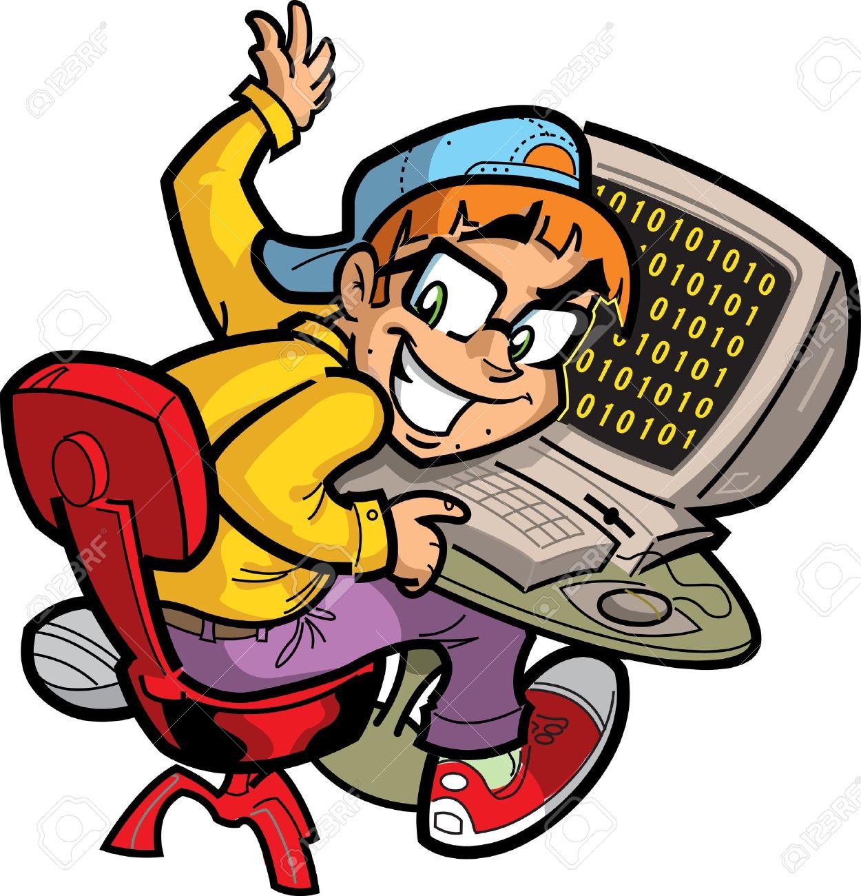 20687005 Happy Computer Nerd At His Computer Stock Vector Computer Cartoon Geek The Explode