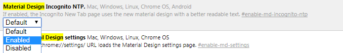 how to enable material design in Chrome