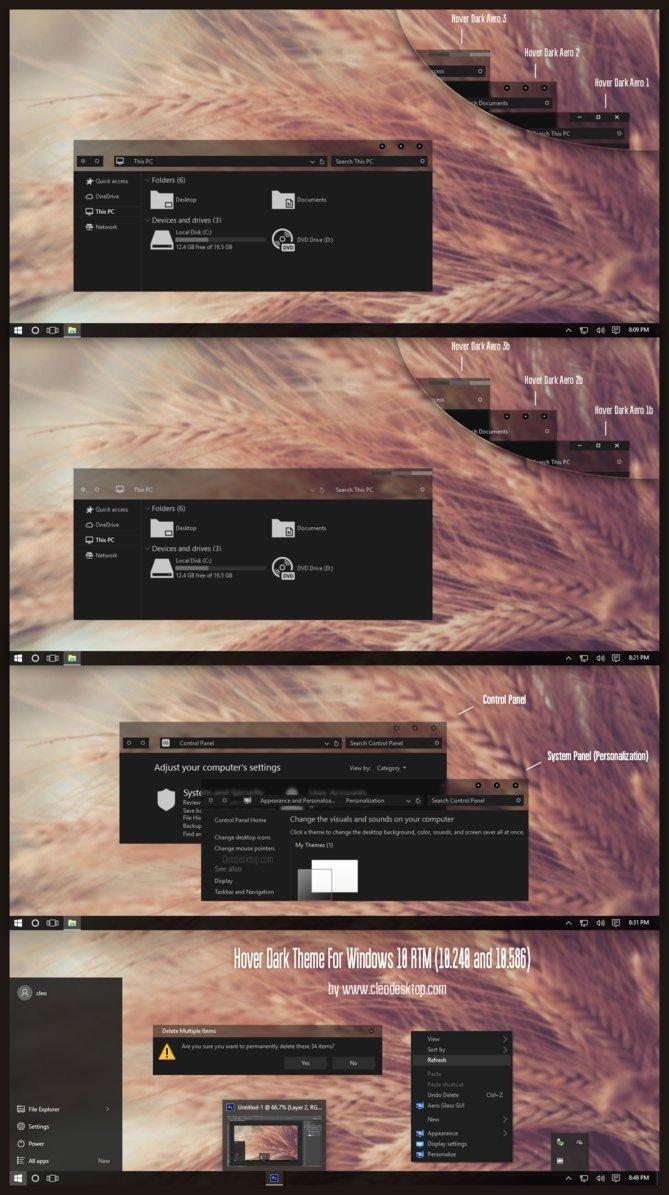 Hover dark custom theme for windows 10
