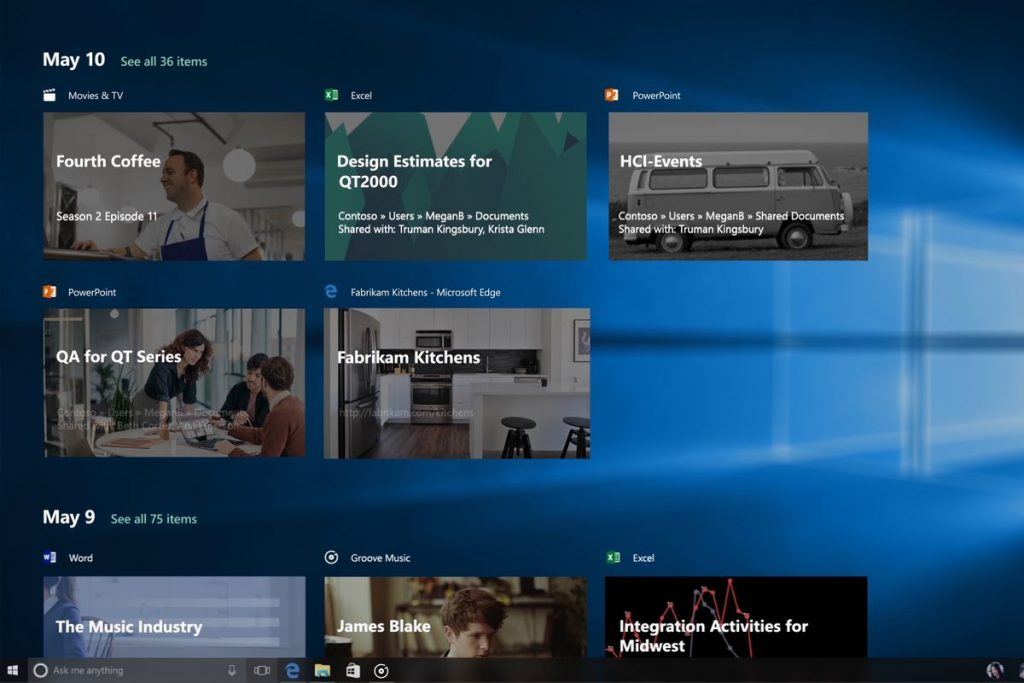 windows 10 timeline feature